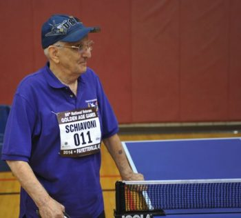 """image of Carmen Schiavoni, 92, ready to take on any of the """"kids"""" at the Games."""