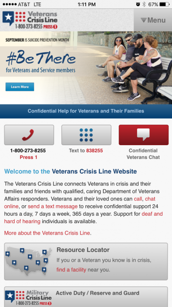 Mobile screenshot of Veteran Crisis Line homepage for suicide prevention