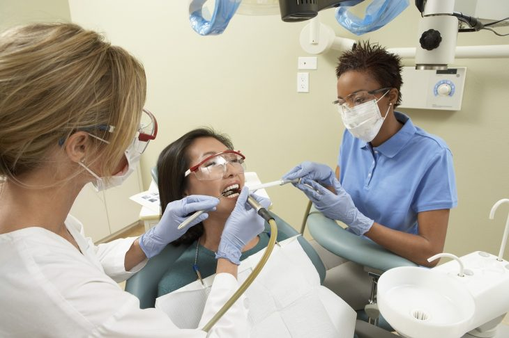 dentist caring for a patient