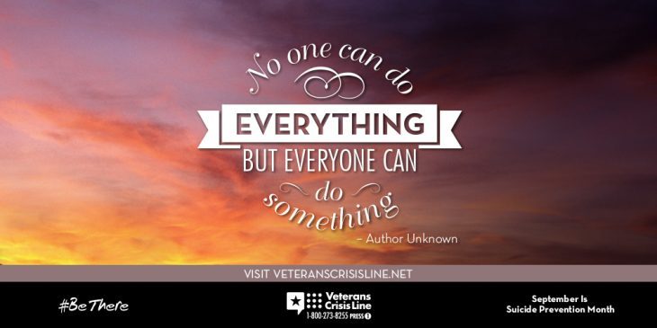 "Suicide prevention image ""no one can do everything but everyone can do something"