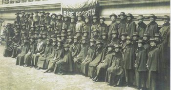 "Women of the U.S. Army Nurse Corps assemble at Base Hospital 18 in Bazoilles-sur-Meuse, France, 1918. Reflecting on her duties, Nettie Eurith Trax (pictured) wrote, ""we do lots of impossible things now."" Nettie Eurith Trax Collection, AFC/2001/001/55632."