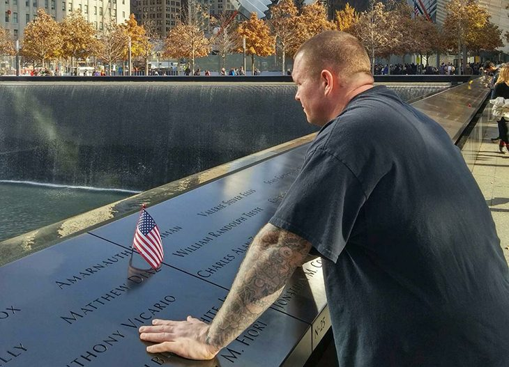 Image of Tim Wynn at the 9/11 Memorial in New York City.