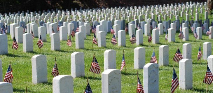 Alexandria Nation al Cemetery, headstones and US flags