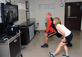 Bernadine Sanchez, Registered Kinesiotherapist, Tampa VA Medical Center leads a Be Active and MOVE! group telehealth physical activity session.