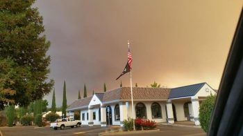 Clearlake VA Clinic with smoke from the Valley Fire of 2015.