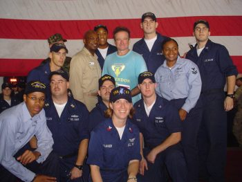 Heather Sandler (front row, center) with Robin Williams and the crew of the USS Harry S. Truman (CVN-75). Heather Sandler Collection, AFC/2001/001/87289.