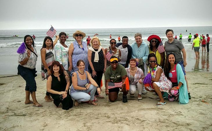 : Members of the VA Advisory Committee at the Surfing Venue of the Summer Sports Clinic