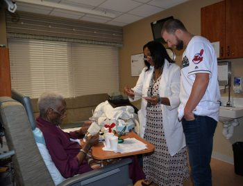 2014 Cy Young Award winner, Corey Kluber, visits with a Veteran at the Louis Stokes Cleveland VA Medical Center.