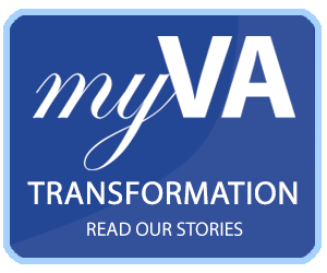 Image for the myVA transformation that reads. MyVa transformation. Read our stories.