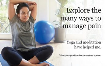 image of pain management poster depicting a woman performing yoga