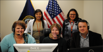 Members of the Contracting Professional School (CPS) virtual instruction team delivered webinars on the Veterans First Contracting Program to the VA contracting workforce, training more than 2,100 students in seven days. Front row (left to right): CPS Director of Operations Christine Heibeck, Senior Training Specialist Megan Replogle, Procurement Analyst David Ely. Back row (left to right): Training Technologist Christine Nguyen and Senior Procurement Analyst Stacy Ditto.