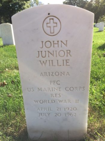 Grave site of John Junior Willie, a Marine Corps Navajo Code Talker, at Rock Island National Cemetery