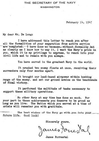 image of letter addressed to George DeLong from then-Secretarty of the Navy James Forrestal