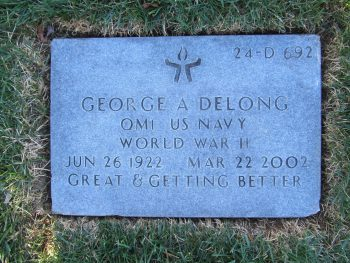 p[icture of flat gravesite marker for George Delong at Fort Indiantown Gap National Cemetery (PA)