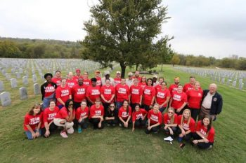 Texas Rangers Staff Helps Spruce Up Veterans Cemetery