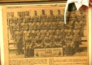 This image shows the 29 original Code Talkers, and it was taken in San Diego, after they completed boot camp. Chester Nez is all the way on the left, in the third row from the top