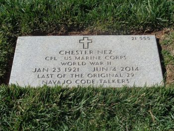 Chester Nez grave site, Santa Fe National Cemetery. Photo courtesy of Susan Parks, SFNC director.