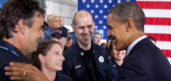 President Obama greets members of the audience following his remarks on Veterans at Fire Station 5 in Arlington, Va., Feb. 3, 2012. (Official White House Photo by Pete Souza)