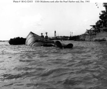 USS Oklahoma, capsized and sinking at Pearl Harbor