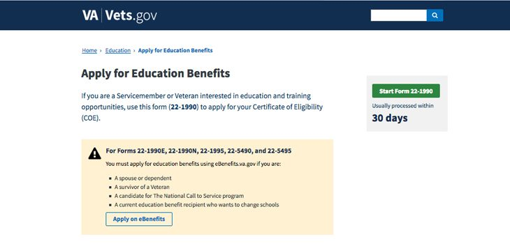 vets.gov application for education benefits webpage