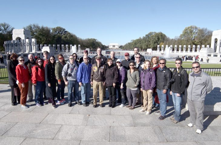 CPT Jerry Yellin (center) with NCA-ABMC teachers at World War II Memorial in National Mall