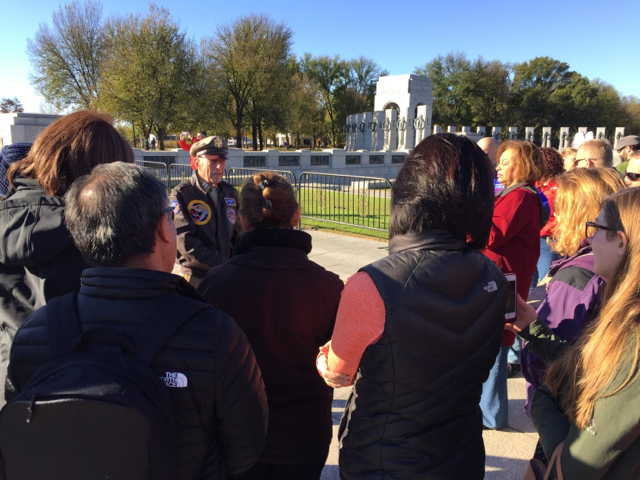 CPT Jerry Yellin with teachers at World War II Memorial