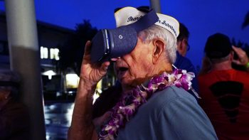 Pearl Harbor survivor Jack Moore relives the attack on Battleship Row at a virtual reality preview event.