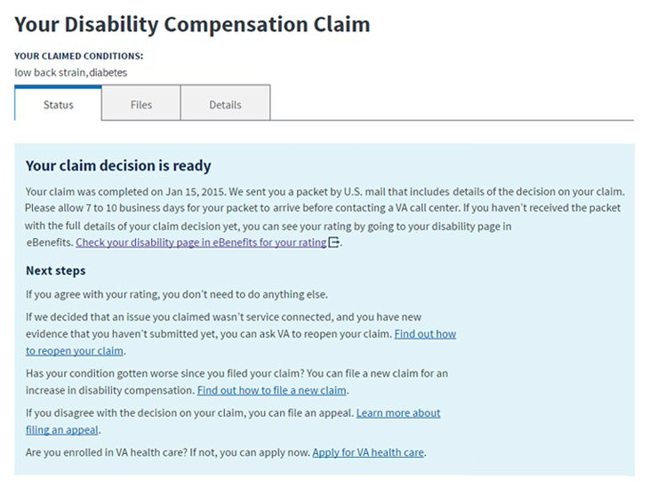 Vets.gov adds disability compensation claim status feature