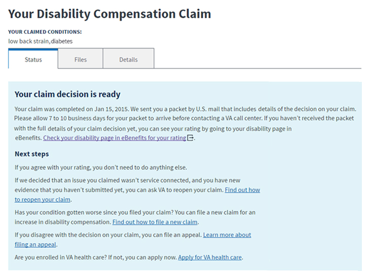 Vets adds disability pensation claim status feature