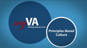 screen shot from principles-based video containing the MyVA logo.