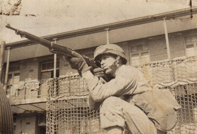 picture of Joe Farinholt, with his M1903 Springfield at Tidworth Barracks, England