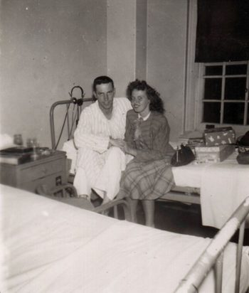 picture of Joe Mr. Farinholt with new bride Agnes 'Reds' Farinholt at Woodrow Wilson Army Hospital in Staunton, VA.