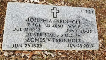 Grave marker of Joe Farinholt, at Garrison Forest Veterans Cemetery, a Maryland State Veterans Cemetery. Photo credit: Maryland Department of Veterans Affairs