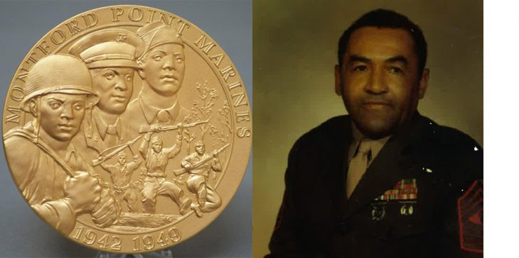 Congressional Gold Medal and portrait of Allen Newton Frazier in uniform