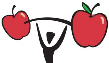 clip art of stick figure lifting a barbell made of giant apples.