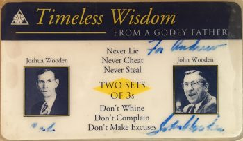Mr. Naud's autographed card from John Wooden.