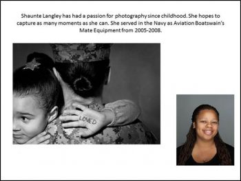 Image of artist with example of her phtography feature a female soldering holding a child.