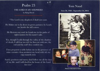 Funeral Card for CPL Thomas Naud, made by his family