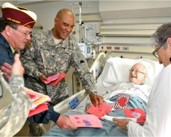 Volunteers visiting Veteran patients on Valentines day