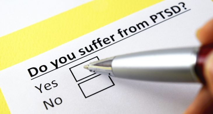 """Image with the test """"Do you suffer from PTSD"""" followed by two boxes marked """"yes"""" and """"no."""""""