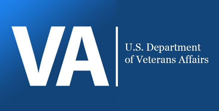 Text reads: VA - U.S. Department of Veterans Affairs - text is white on blue background
