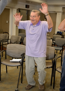 Image of Navy Veteran Curtis Moody learns new exercises and ways to stay active during his weekly MOVE! meeting. Photo by James Arrowood.