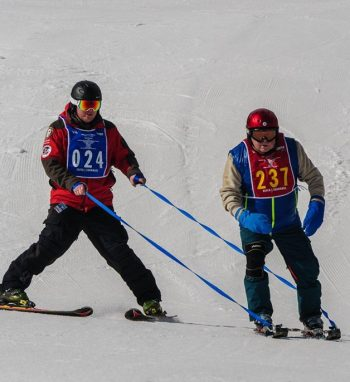 Navy Veteran Bob Haas takes to the slopes of Snowmass at the 2017 National Disabled Veterans Winter Sports Clinic.
