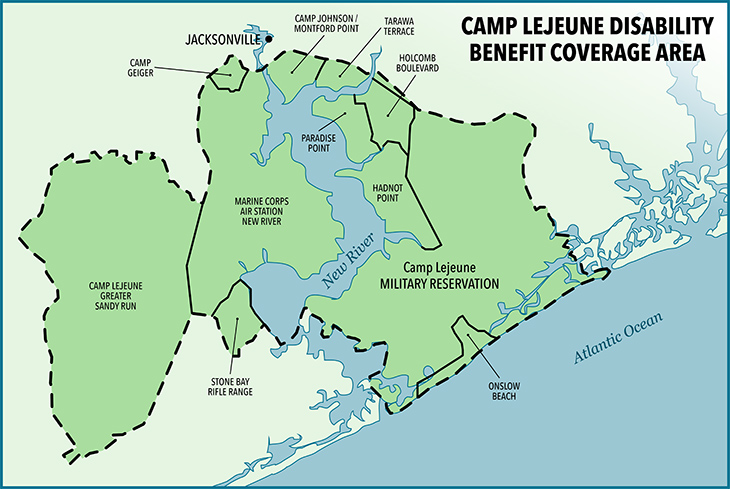 A map of the Camp Lejeune disability coverage area.