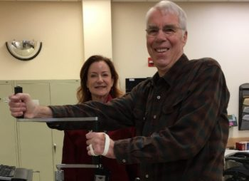 Image of Gary testing the fit of the prototype 3D printed orthotic with his occupational therapist Mary Matthews-Brownell.