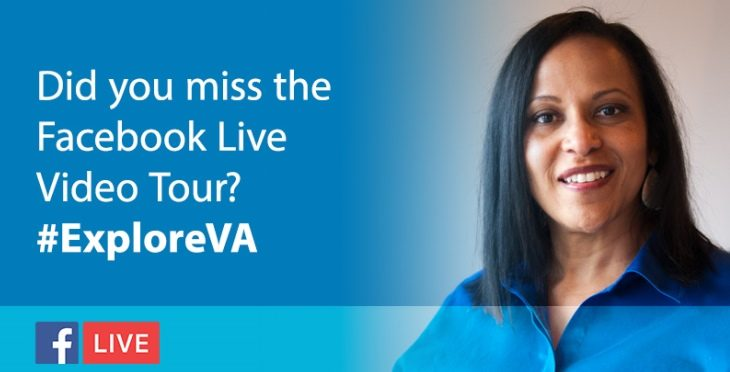 #ExploreVA graphic featuring a woman on a blue background.