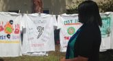 Images of hand painted t-shirts representing MST struggles for Sexual Assault Awareness Month (SAAM)