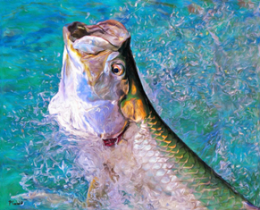 Pamela Corwin's orginial art of a tarpon breaking the surface of the water.