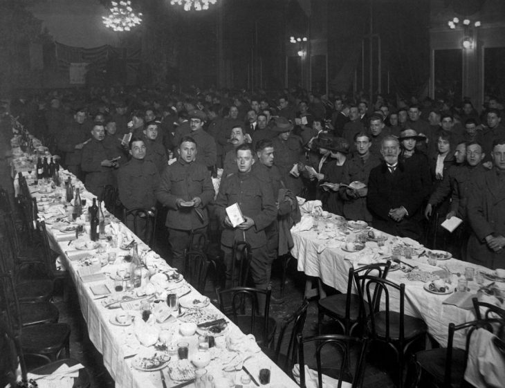 A photo of soldiers at a Passover Seder in 1919