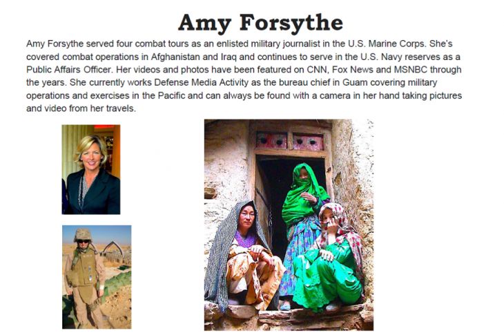 Collage of images of Amy Forsythe and her photography.